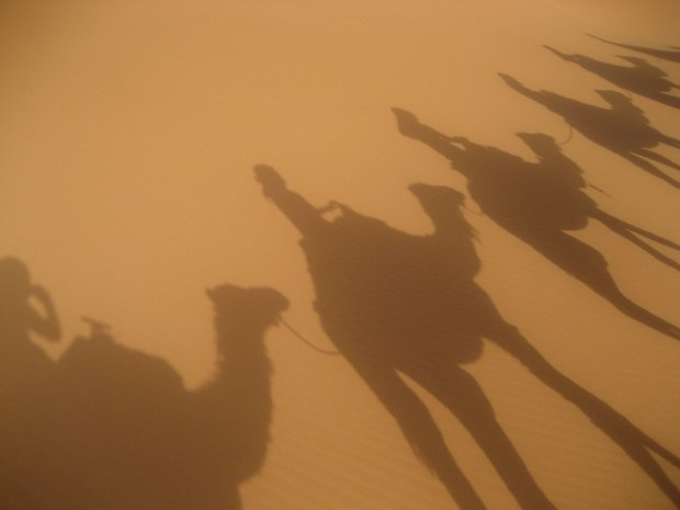 Riding camels in the Sahara Desert Morocco