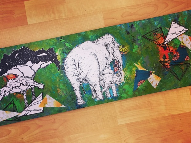 Elephants Mixed Media Canvas